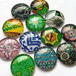 30mm 35mm Round Glass Cabochon Mixed Pattern Handmade DIY Embellishments Supplies