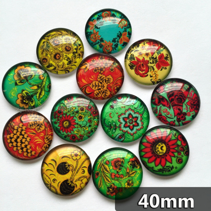 40mm Colorful Floral Mixed Pattern Round Glass Cabochon Handmade DIY Embellishments Supplies
