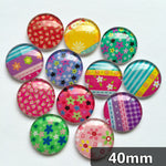 40mm Round Glass Cabochon Mixed Pattern Handmade DIY Embellishments Supplies