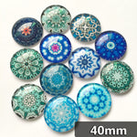 40mm Blue Round Glass Cabochon Mixed Pattern Handmade DIY Embellishments Supplies