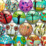 10mm 12mm 14mm 16mm 18mm 20mm 25mm 30mm 35mm 40mm HOT Tree Branch Pattern Round Glass Dome Cabochons Mixed Color Flat Back DIY Jewelry Findings