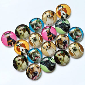 10mm 12mm 18mm 20mm 30mm 40mm Handmade Mixed Dogs Pattern Domed Photo Glass Cabochons Round Jewelry Accessories
