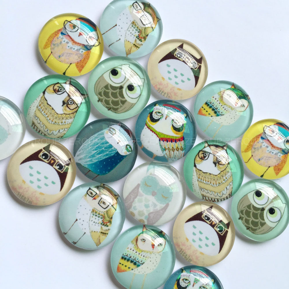 10mm 12mm 18mm 20mm 25mm 30mm 40mm Handmade Mixed Owl Glass Cabochons Domed Round Jewelry Accessories Supplies