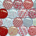 10mm 12mm 18mm 20mm 25mm 30mm 35mm 40mm Heart Love Handmade Glass Cabochons Mixed Pattern Domed Round Jewelry Accessories Supplies