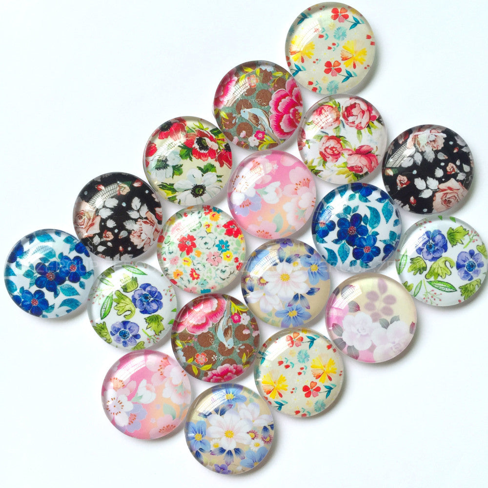 10mm 12mm 18mm 20mm 25mm 30mm 40mm Flower Floral Handmade Glass Cabochons Mixed Pattern Domed Round Jewelry Accessories Supplies
