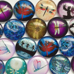 10mm 12mm 18mm 20mm 25mm 30mm 35mm 40mm Round Glass Cabochons Mixed Dragonfly Designs Jewelry Accessories