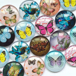 10mm 12mm 18mm 20mm 25mm 30mm 40mm Butterfly Handmade Glass Cabochons Mixed Pattern Domed Round Jewelry Accessories Supplies for Jewelry