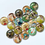 10mm 12mm 18mm 20mm 25mm 30mm 40mm Round Glass Cabochons Mixed Animated Girl Design Style Jewelry Accessories Supplies