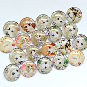 12mm 18mm 20mm 25mm 30mm Round Glass Cabochons Girl Anime Design Jewelry Accessories Supplies