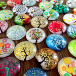 10mm 12mm 14mm 16mm 18mm 20mm 25mm 30mm 35mm 40mm Tree Branches Round Glass Cabochon Mixed Patterns Fit Cameo Base for Jewelry