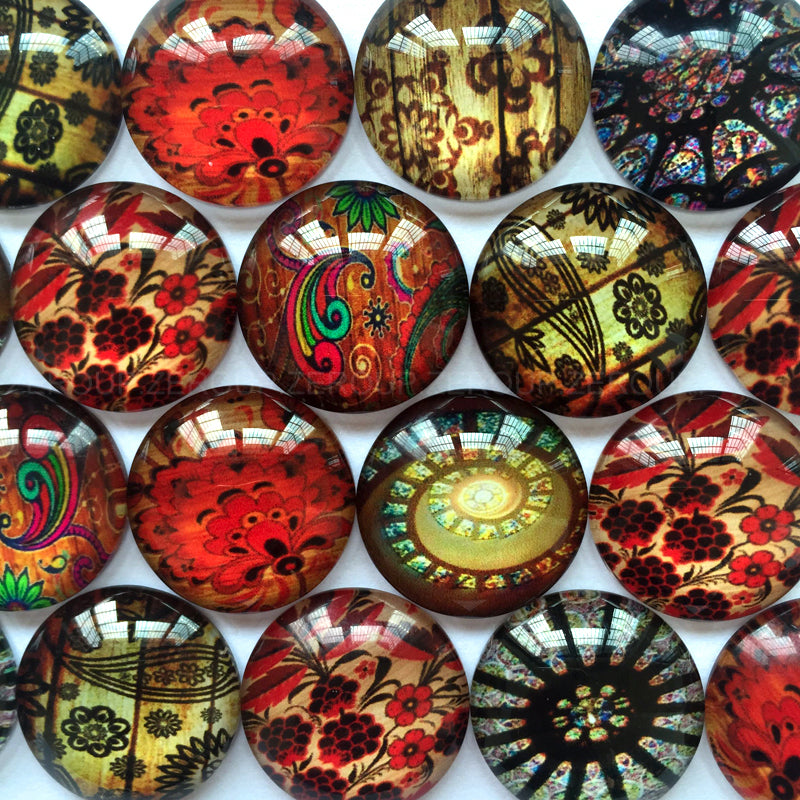 10mm 12mm 18mm 20mm 25mm 30mm 40mm Decorative Mixed Pattern Round Glass Cabochon Fit Cameo Base Setting