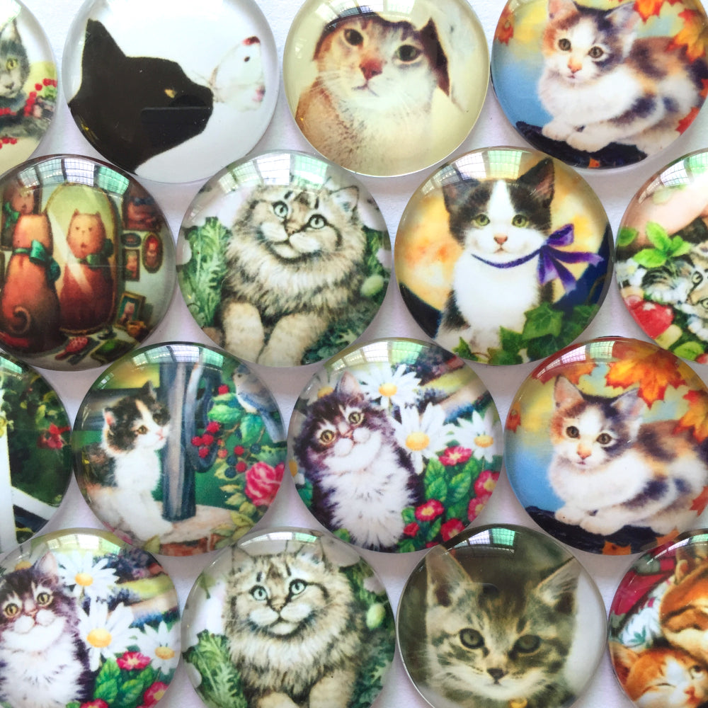 10mm 12mm 18mm 20mm 25mm 30mm 40mm Cats Round Glass Cabochon Mixed Pattern Pictures Fit Cameo Base Setting