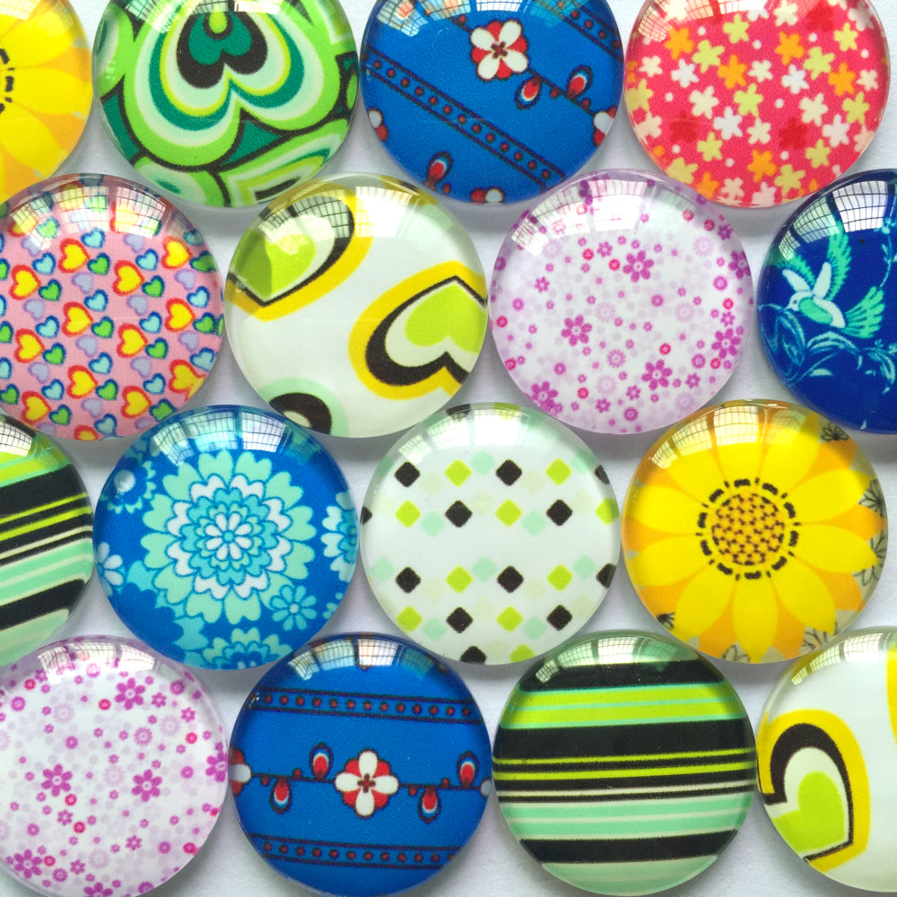 10mm 12mm 14mm 16mm 18mm 20mm 25mm 30mm 35mm 40mm Sunflower Heart Shapes Round Glass Cabochon Mixed Pattern Pictures Fit Cameo Base Setting