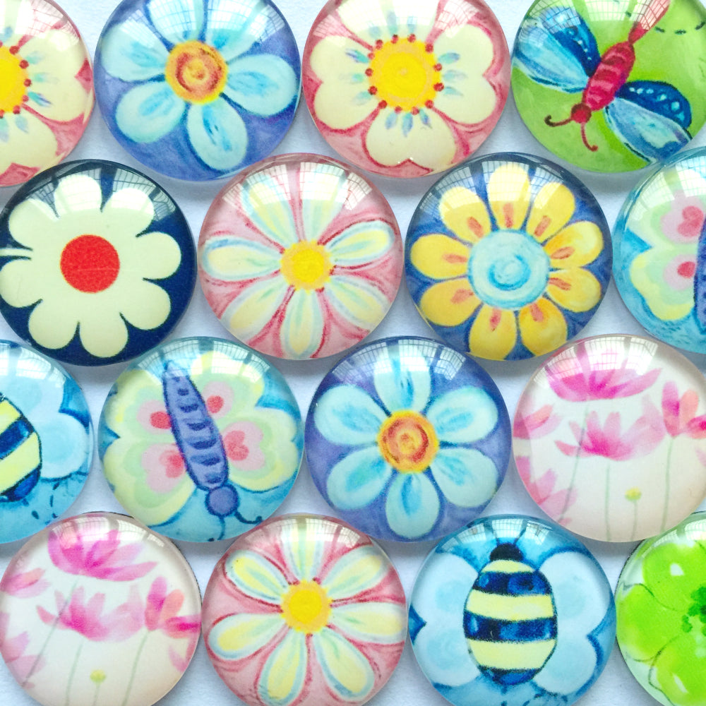 10mm 12mm 14mm 16mm 18mm 20mm 25mm 30mm 40mm Round Glass Cabochon Mixed Painted Flowers Pattern Fit Cameo Base Setting