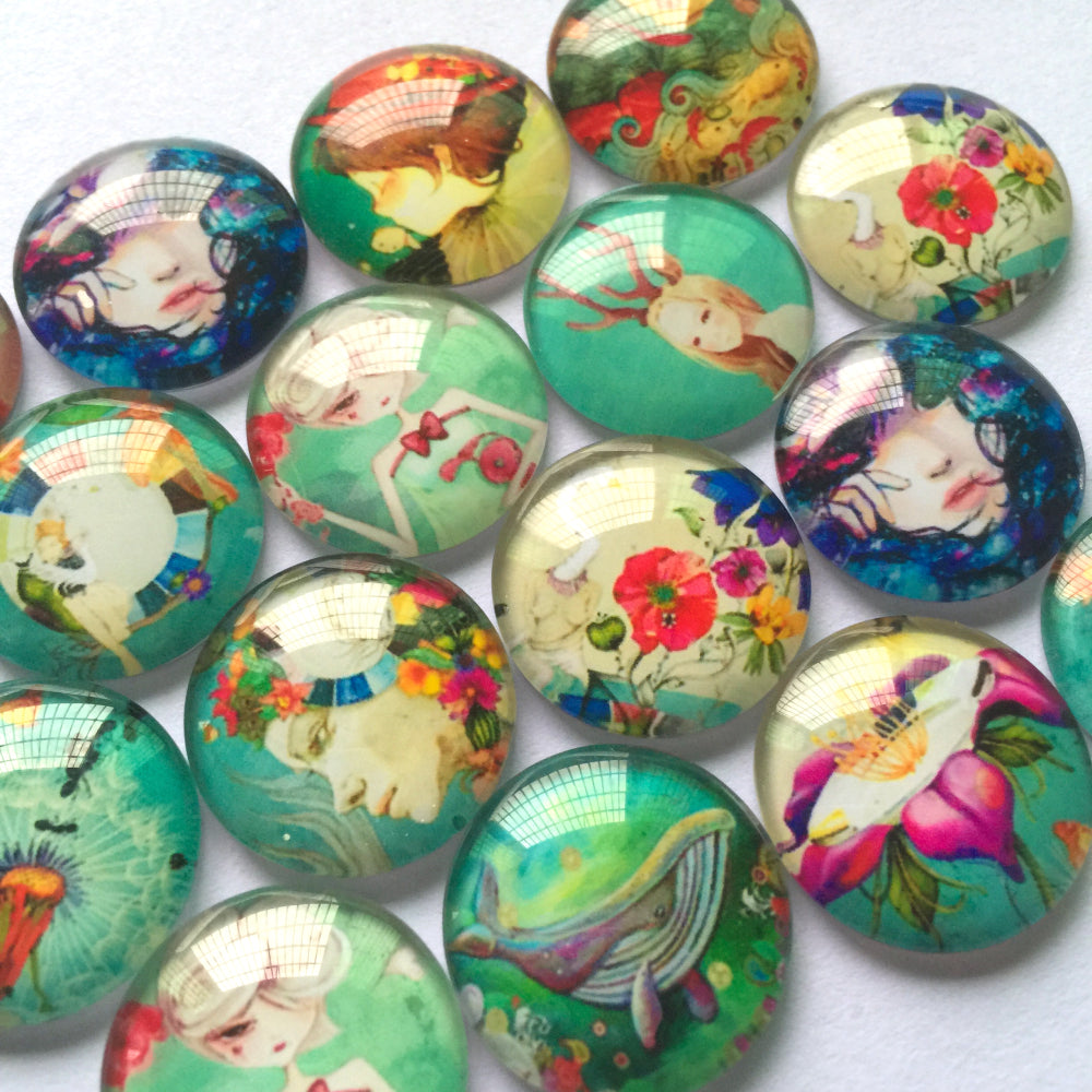 10mm 12mm 14mm 16mm 18mm 20mm 25mm 30mm 40mm Round Glass Cabochon Mixed Girl Paintings Pattern Pictures Fit Cameo Base Setting