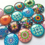 10mm 12mm 14mm 16mm 18mm 20mm 30mm 40mm Mixed Pattern Round Glass Cabochon Fit Cameo Base Earring Setting