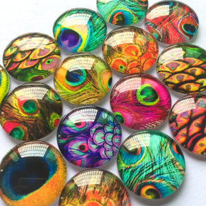 10mm 12mm 14mm 16mm 18mm 20mm 25mm 30mm 40mm Eyes Round Glass Cabochon Mixed Pattern Pictures Fit Cameo Base Setting