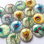 10mm 12mm 14mm 16mm 18mm 20mm 25mm 30mm 40mm Round Glass Cabochon Mixed Peacock Pattern Pictures Fit Cameo Base Setting