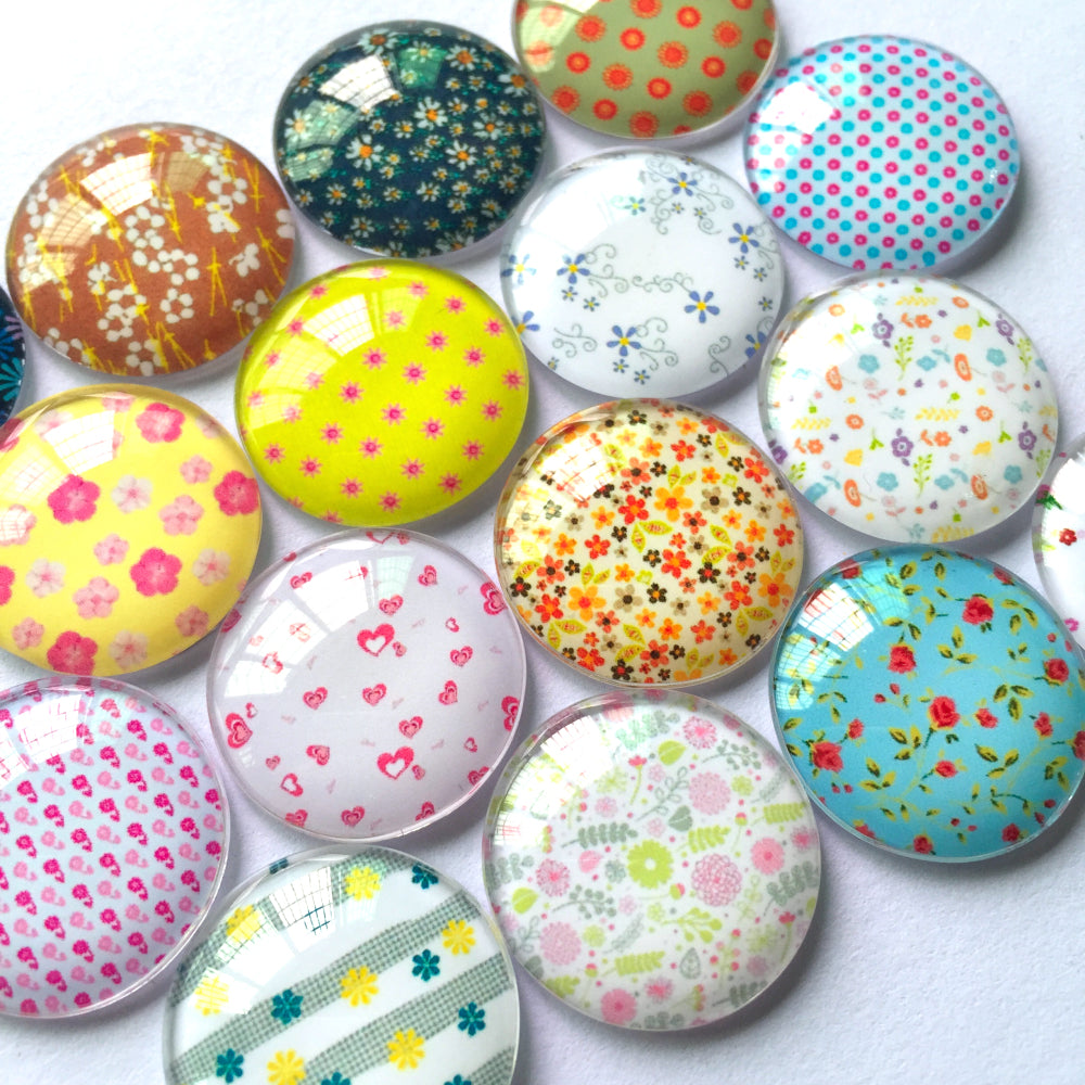 10mm 12mm 14mm 16mm 18mm 20mm 25mm 30mm 35mm 40mm Round Glass Cabochon New Floral Pictures Mixed Pattern Fit Cameo Base Setting for Flat Back Jewelry