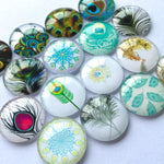 10mm 12mm 16mm 18mm 20mm 25mm 30mm 35mm 40mm Peacock Feathers Round Glass Cabochon Mixed Pattern Fit Cameo Base Setting