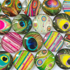 12mm 20mm Round Glass Cabochon Peacock Feathers Pictures Mixed Pattern Fit Cameo Base Setting