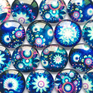 10mm 12mm 18mm 20mm 30mm 35mm 40mm Blue Color Of Flowers Round Glass Dome Cabochon Mixed Pattern DIY Flat Back Jewelry Finding