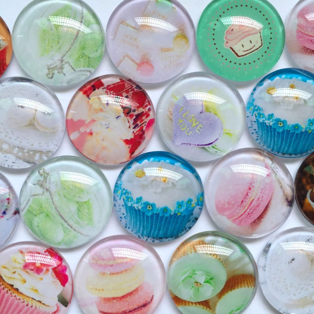10mm 12mm 18mm 20mm 25mm 30mm 40mm Round Photo Glass Cabochon Mixed Pattern Fit Cameo Base Setting Supplies