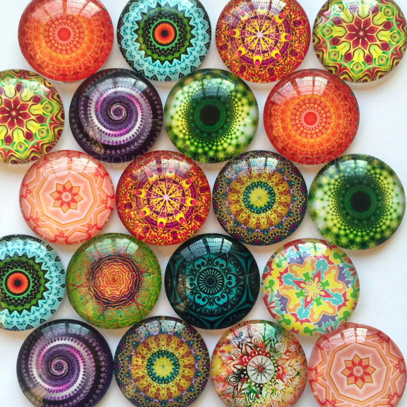 10mm 12mm 14mm 16mm 18mm 20mm 25mm 30mm 35mm 40mm  Colorful Floral Round Glass Cabochon Mixed Pattern Fit Cameo Base Setting