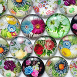 10mm 12mm 14mm 16mm 18mm 20mm 25mm 30mm 35mm 40mm Flower Round Glass Cabochon Mixed Pattern Fit Cameo Base Setting