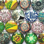 10mm 12mm 18mm 20mm 25mm 30mm 35mm 40mm Round Glass Cabochon Mixed Pattern Fit Cameo Base Setting