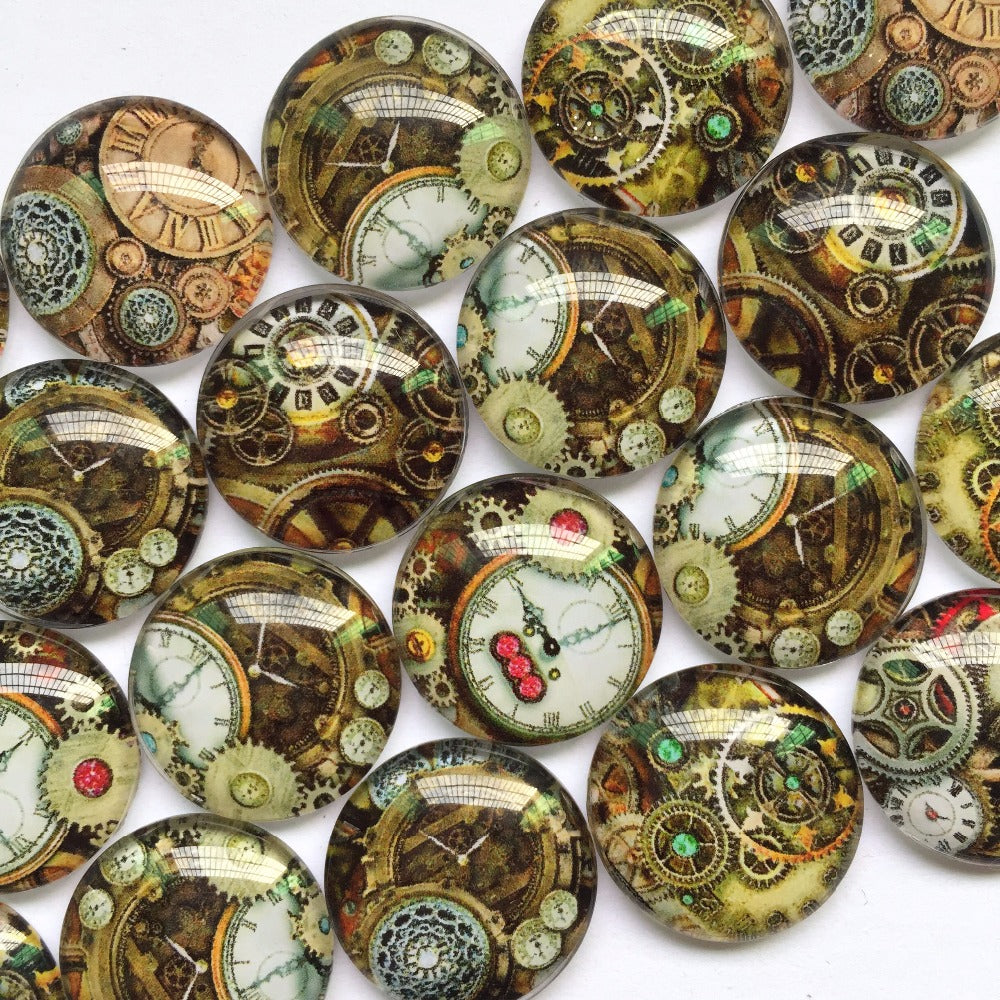 10mm 12mm 18mm 20mm 25mm 30mm 40mm Round Glass Victorian Clock Design Cabochon Fit Cameo Base Setting