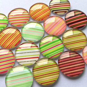 10mm 12mm 18mm 20mm 25mm 30mm Colorful Lines Round Glass Cabochon Mixed Pattern Fit Cameo Base Setting