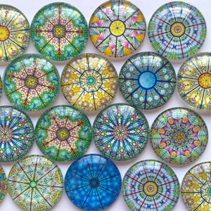 10mm 12mm 16mm 18mm 20mm 25mm 30mm Abstract Shapes Colorful Round Photo Glass Cabochon Mixed Pattern Fit Cameo Base Setting