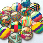 10mm 12mm 18mm 20mm 25mm 30mm 35mm 40mm Round Glass Cabochon Mixed Style Pattern Fit Cameo Base Setting