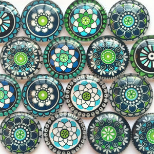 10mm 12mm 18mm 20mm 25mm 30mm 35mm 40mm Round Glass Cabochon Mixed Mosaic Style Pattern Fit Cameo Base Setting