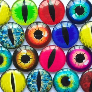 10mm 12mm 18mm 20mm 25mm 30mm 40mm Round Glass Cabochon Mixed Colorful Eyes Design Pattern Fit Cameo Base Setting