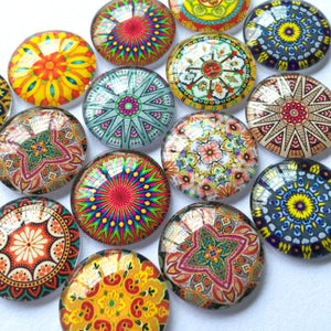 40mm 10mm 12mm 18mm 20mm 25mm 30mm Round Glass Cabochon Mixed Pattern Fit Cameo Base Setting