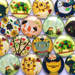 10mm 12mm 14mm 16mm 18mm 20mm 25mm 30mm 35mm 40mm Round Glass Cabochon Mixed Animal Sketches Pattern Fit Cameo Base Setting