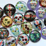 10mm 12mm 18mm 20mm 25mm 30mm 35mm 40mm Colorful Skull Round Photo Glass Cabochon Mixed Pattern Fit Cameo Base Setting