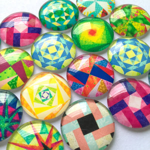 10mm 12mm 18mm 20mm 25mm Colorful Abstract Round Photo Glass Cabochon Mixed Pattern Fit Cameo Base Setting