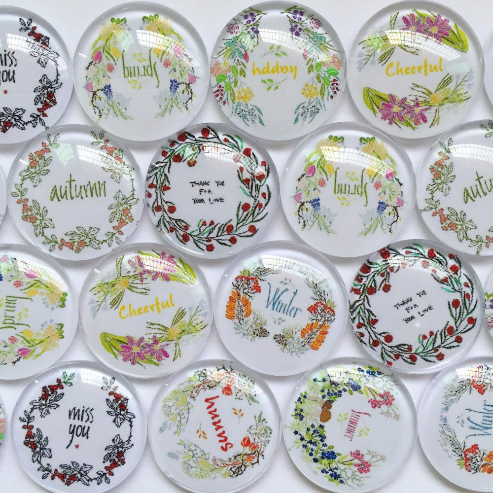10mm 12mm 18mm 20mm 25mm 30mm 40mm Emotion Season Round Glass Cabochon Mixed Pattern Fit Cameo Base Setting