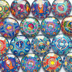 10mm 12mm 18mm 20mm 25mm 30mm 35mm 40mm Blue Abstract Round Glass Cabochon Mixed Pattern Fit Cameo Base Setting