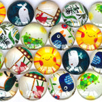 12mm 18mm 20mm 25mm 30mm Cartoons Round Glass Cabochon Mixed Pattern Fit Cameo Base Setting