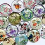 10mm 12mm 18mm 20mm 25mm 30mm 40mm Angel Paint Round Photo Glass Cabochon Mixed Pattern Fit Cameo Base Setting