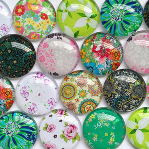 10mm 12mm 18mm 20mm 25mm 30mm 40mm Colorful Flowers Round Glass Cabochon Mixed Pattern Fit Cameo Base Setting