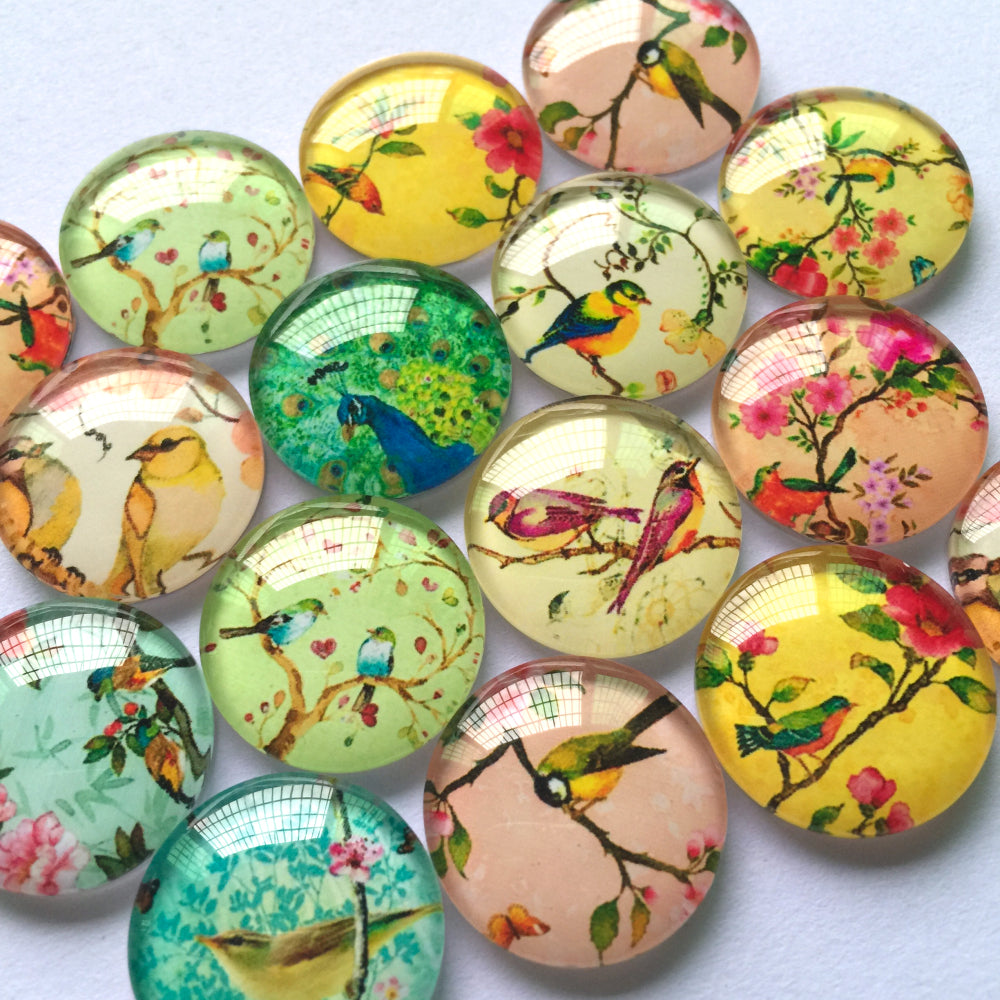 10mm 12mm 18mm 20mm 25mm 30mm 35mm 40mm Bird Round Photo Glass Cabochon Mixed Pattern Fit Cameo Base Setting