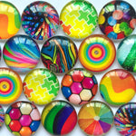 10mm 12mm 18mm 20mm 25mm 30mm 35mm 40mm Colorful Rainbow Round Glass Cabochon Mixed Pattern Fit Cameo Base Setting
