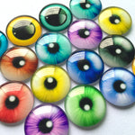 10mm 12mm 16mm 18mm 20mm 25mm Round Photo Glass Cabochon Mixed Eyes Pattern Fit Cameo Base Setting