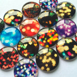 10mm 12mm 18mm 20mm 25mm 30mm 35mm 40mm Colorful Lights Round Photo Glass Cabochon Mixed Pattern Fit Cameo Base Setting