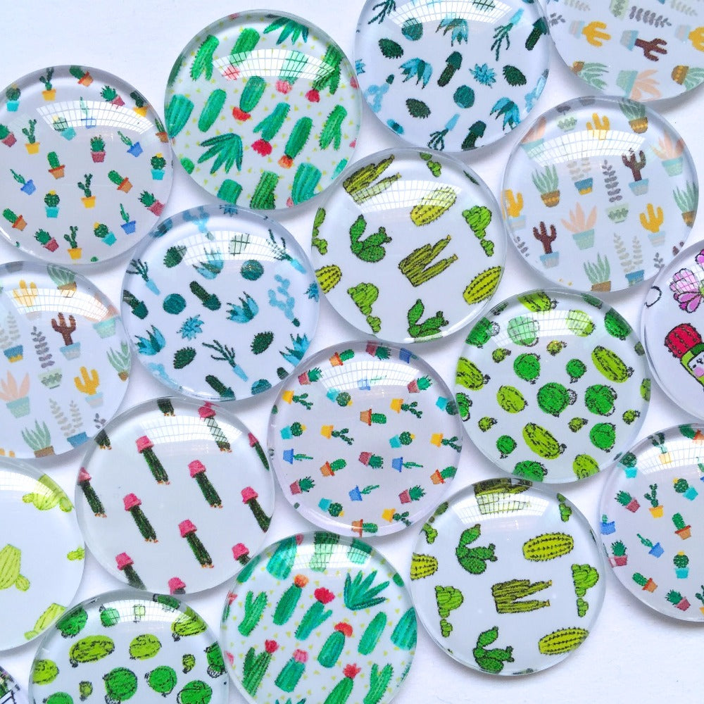 10mm 12mm 18mm 20mm 25mm 30mm 40mm Cactus Photo Glass Cabochon Mixed Pattern Fit Cameo Base Setting